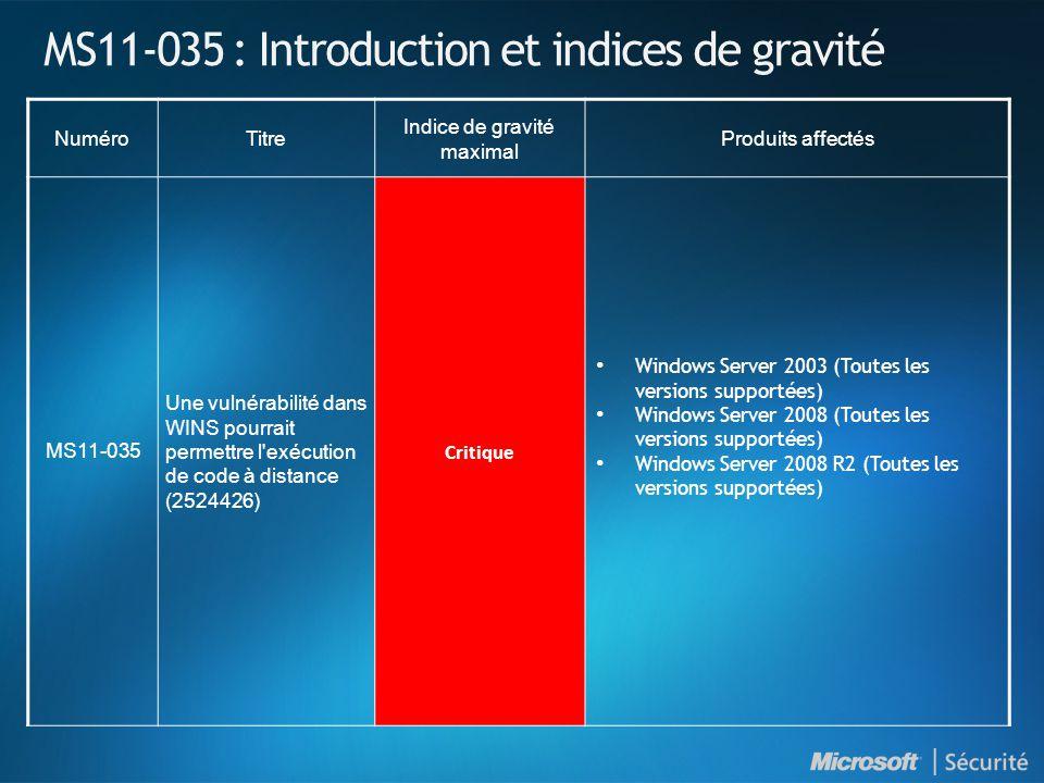 MS11-035 : Introduction et indices de gravité NuméroTitre Indice de gravité maximal Produits affectés MS11-035 Une vulnérabilité dans WINS pourrait permettre l exécution de code à distance (2524426) Critique • Windows Server 2003 (Toutes les versions supportées) • Windows Server 2008 (Toutes les versions supportées) • Windows Server 2008 R2 (Toutes les versions supportées)