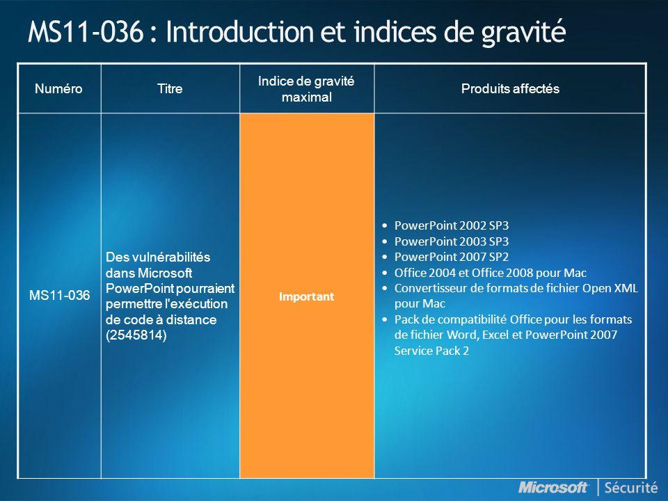 MS11-036 : Introduction et indices de gravité NuméroTitre Indice de gravité maximal Produits affectés MS11-036 Des vulnérabilités dans Microsoft Power
