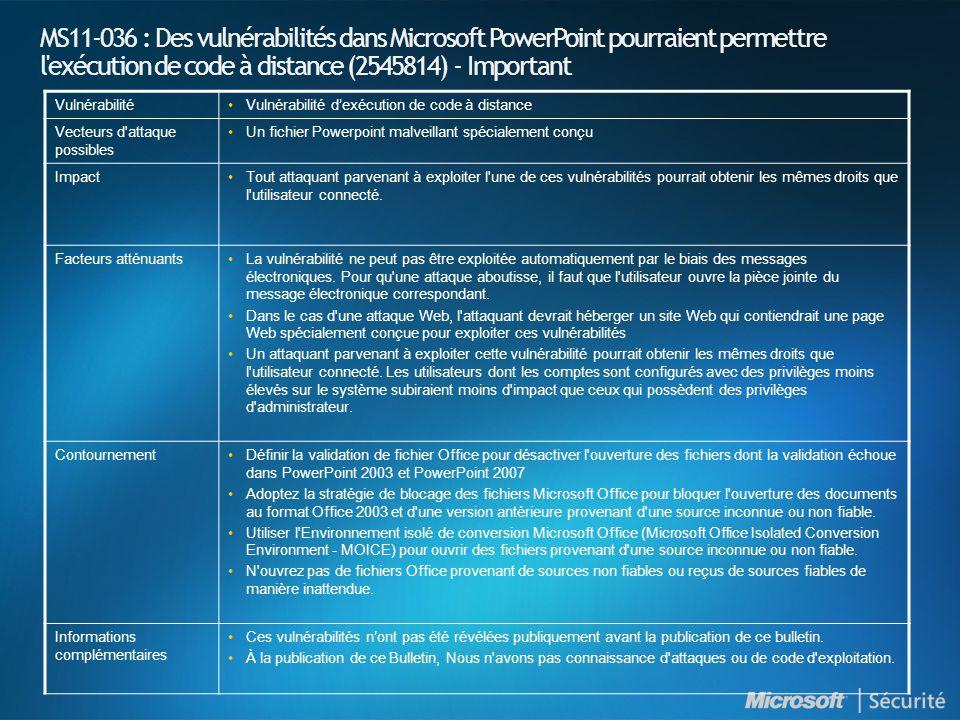 MS11-036 : Des vulnérabilités dans Microsoft PowerPoint pourraient permettre l'exécution de code à distance (2545814) - Important Vulnérabilité•Vulnér