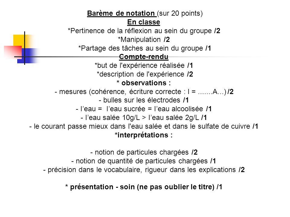 Barème de notation (sur 20 points) En classe *Pertinence de la réflexion au sein du groupe /2 *Manipulation /2 *Partage des tâches au sein du groupe /1 Compte-rendu *but de l expérience réalisée /1 *description de l expérience /2 * observations : - mesures (cohérence, écriture correcte : I =.......A...) /2 - bulles sur les électrodes /1 - I'eau = I'eau sucrée = I'eau alcoolisée /1 - I'eau salée 10g/L > I'eau salée 2g/L /1 - le courant passe mieux dans l eau salée et dans le sulfate de cuivre /1 *interprétations : - notion de particules chargées /2 - notion de quantité de particules chargées /1 - précision dans le vocabulaire, rigueur dans les explications /2 * présentation - soin (ne pas oublier le titre) /1