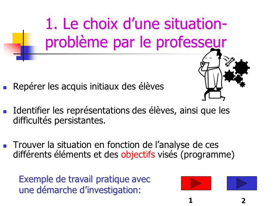 5 ème étape  Validation du projet par le professeur  Réalisation des expériences par les élèves.