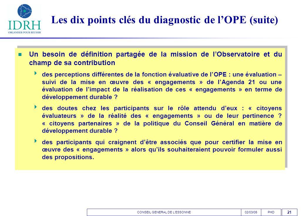CONSEIL GENERAL DE L'ESSONNEPHD02/03/05 21 Les dix points clés du diagnostic de l'OPE (suite)  Un besoin de définition partagée de la mission de l'Observatoire et du champ de sa contribution  des perceptions différentes de la fonction évaluative de l'OPE : une évaluation – suivi de la mise en œuvre des « engagements » de l'Agenda 21 ou une évaluation de l'impact de la réalisation de ces « engagements » en terme de développement durable .