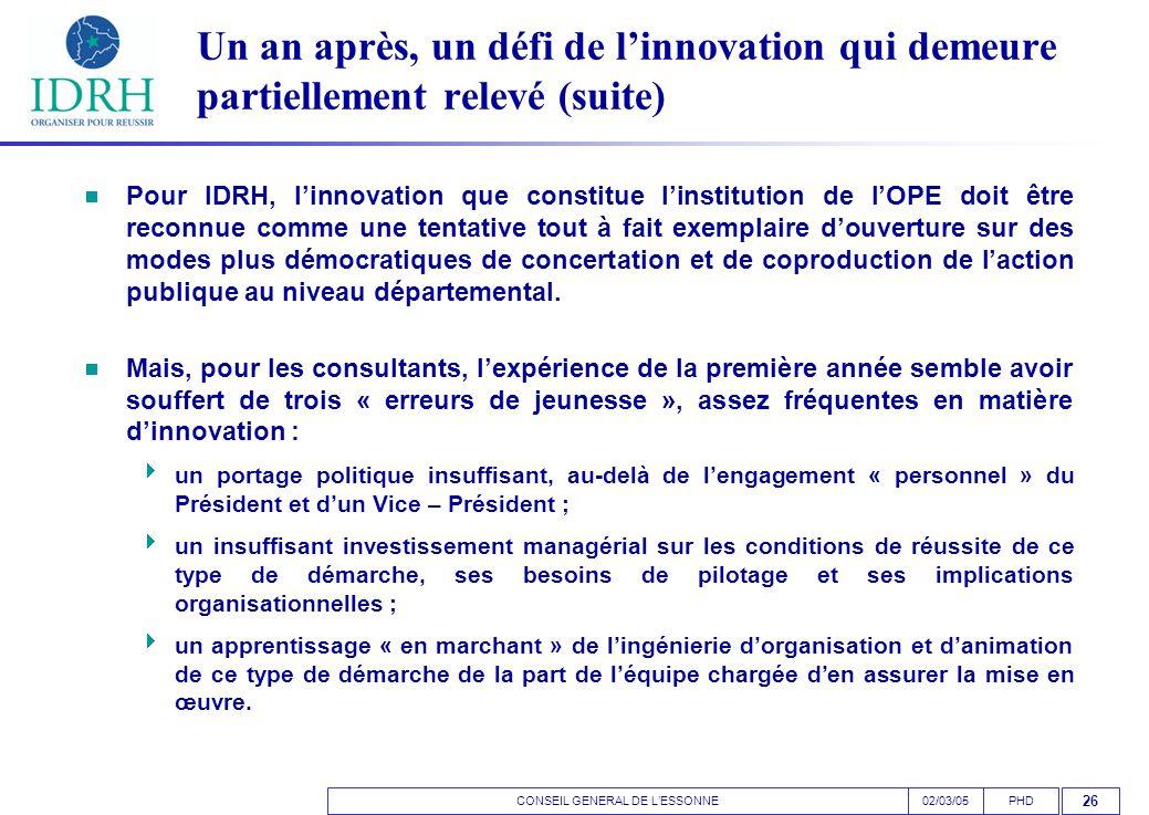 CONSEIL GENERAL DE L'ESSONNEPHD02/03/05 26 Un an après, un défi de l'innovation qui demeure partiellement relevé (suite)  Pour IDRH, l'innovation que constitue l'institution de l'OPE doit être reconnue comme une tentative tout à fait exemplaire d'ouverture sur des modes plus démocratiques de concertation et de coproduction de l'action publique au niveau départemental.
