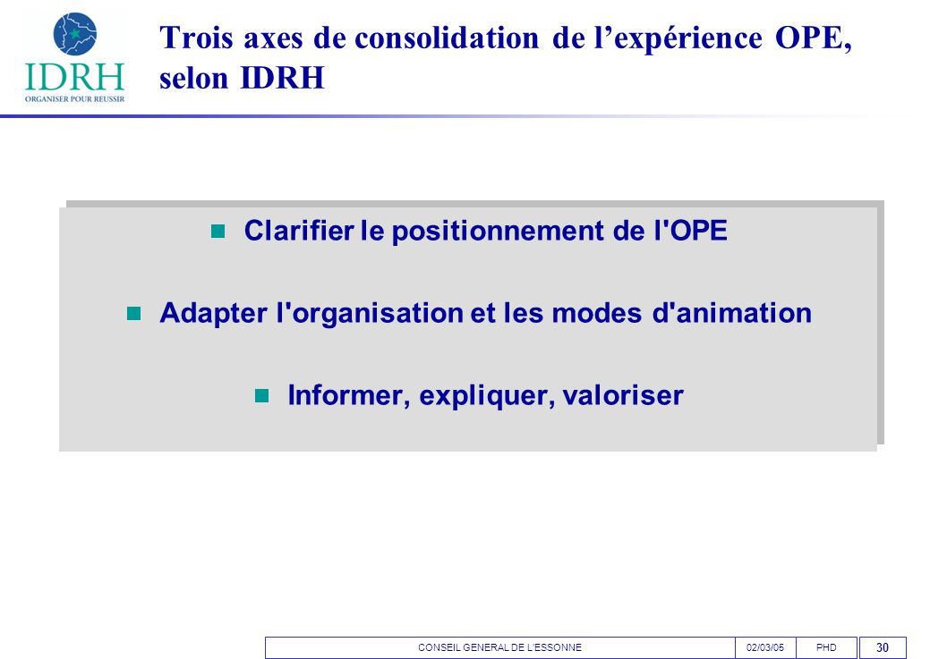 CONSEIL GENERAL DE L'ESSONNEPHD02/03/05 30 Trois axes de consolidation de l'expérience OPE, selon IDRH  Clarifier le positionnement de l OPE  Adapter l organisation et les modes d animation  Informer, expliquer, valoriser  Clarifier le positionnement de l OPE  Adapter l organisation et les modes d animation  Informer, expliquer, valoriser