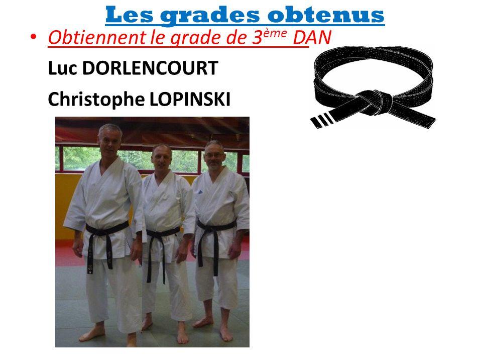 Les grades obtenus • Obtiennent le grade de 3 ème DAN Luc DORLENCOURT Christophe LOPINSKI