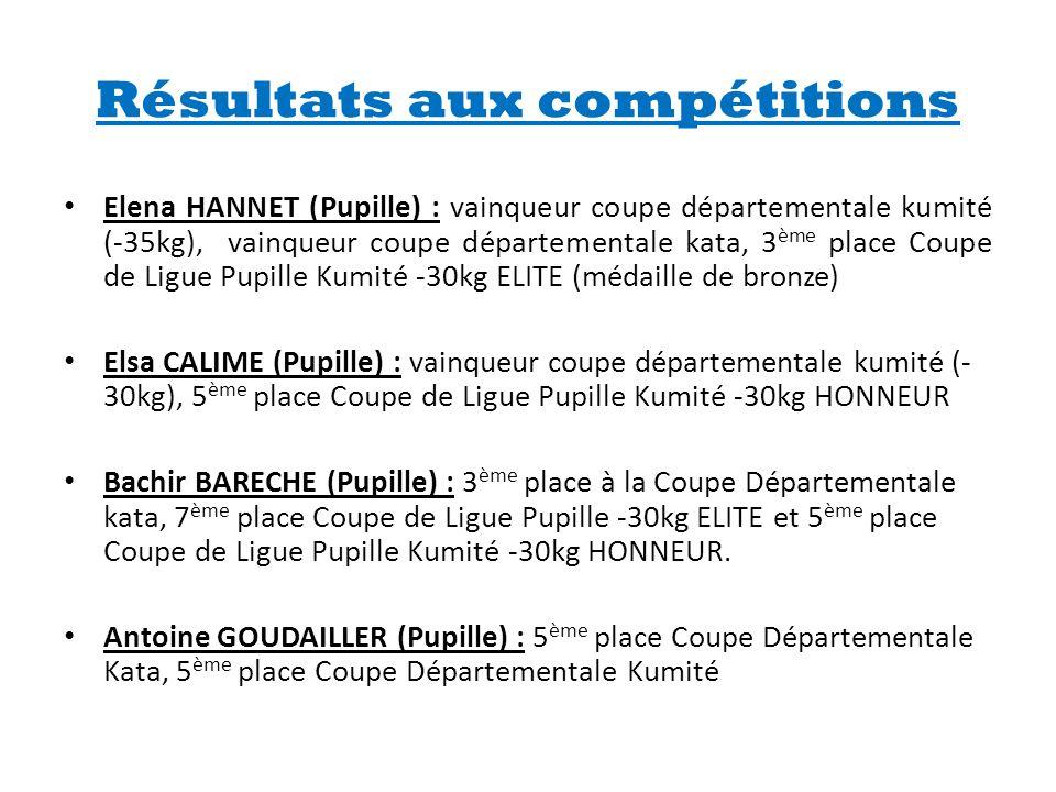 Résultats aux compétitions • Elena HANNET (Pupille) : vainqueur coupe départementale kumité (-35kg), vainqueur coupe départementale kata, 3 ème place
