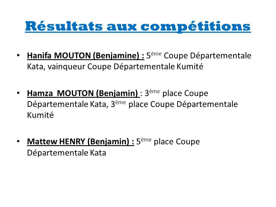 Résultats aux compétitions • Hanifa MOUTON (Benjamine) : 5 ème Coupe Départementale Kata, vainqueur Coupe Départementale Kumité • Hamza MOUTON (Benjam