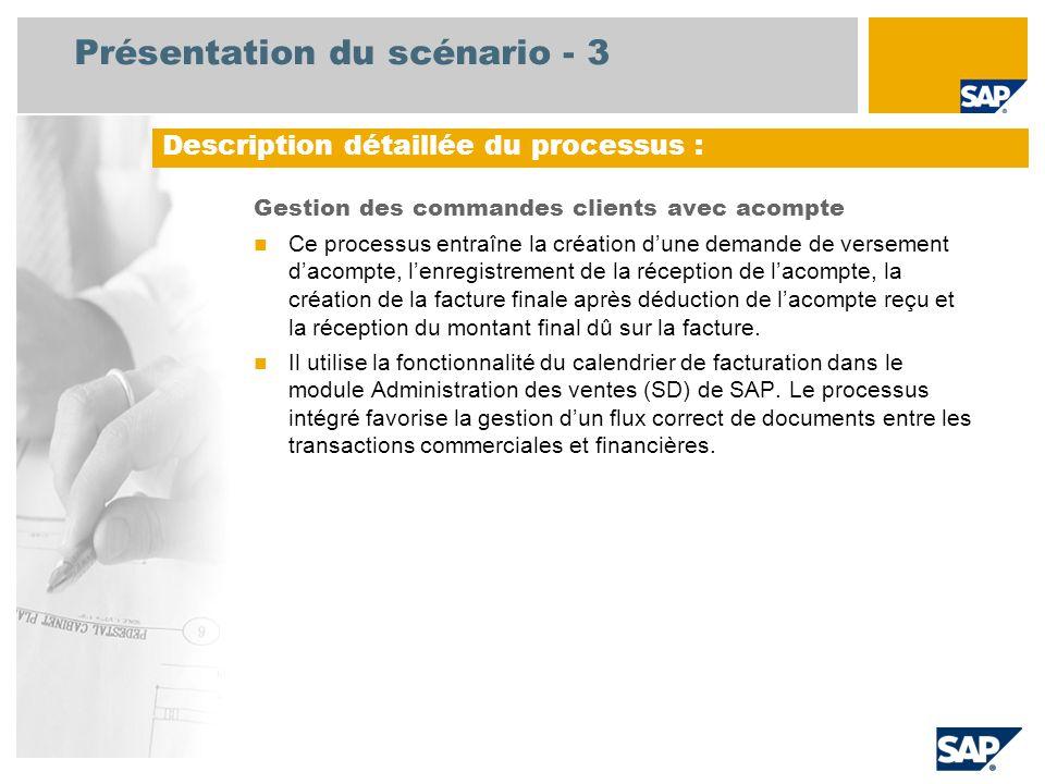 Présentation du scénario - 3 Gestion des commandes clients avec acompte  Ce processus entraîne la création d'une demande de versement d'acompte, l'en