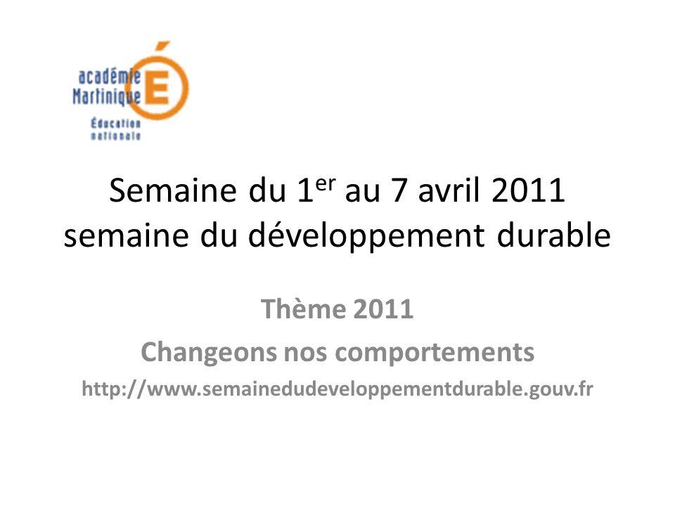 Semaine du 1 er au 7 avril 2011 semaine du développement durable Thème 2011 Changeons nos comportements http://www.semainedudeveloppementdurable.gouv.