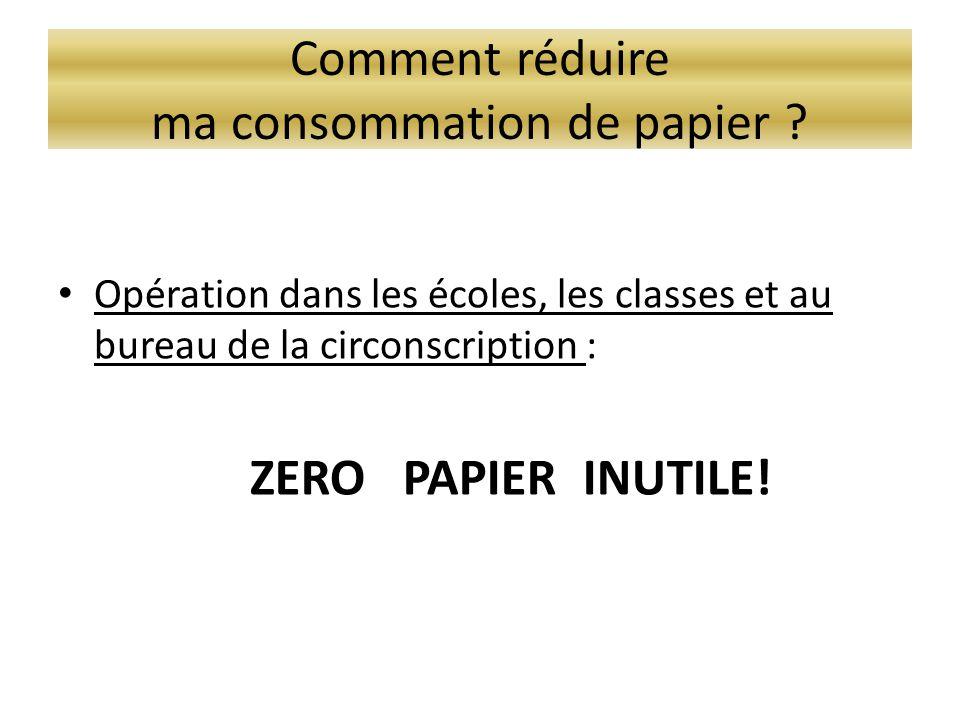 Comment réduire ma consommation de papier ? • Opération dans les écoles, les classes et au bureau de la circonscription : ZERO PAPIER INUTILE!