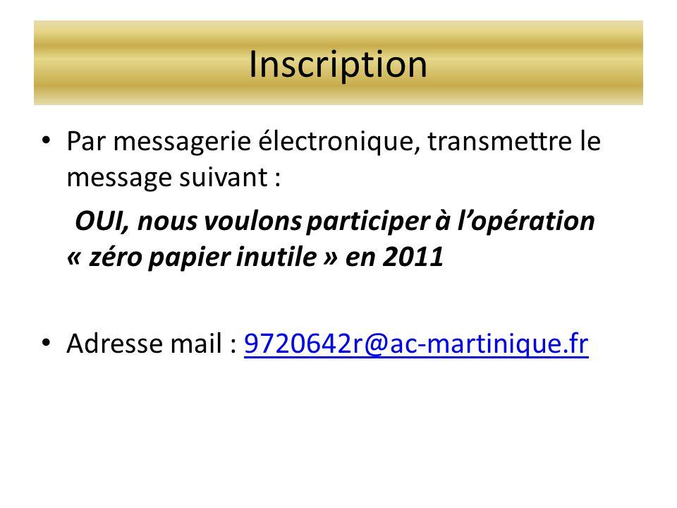 Inscription • Par messagerie électronique, transmettre le message suivant : OUI, nous voulons participer à l'opération « zéro papier inutile » en 2011 • Adresse mail : 9720642r@ac-martinique.fr9720642r@ac-martinique.fr