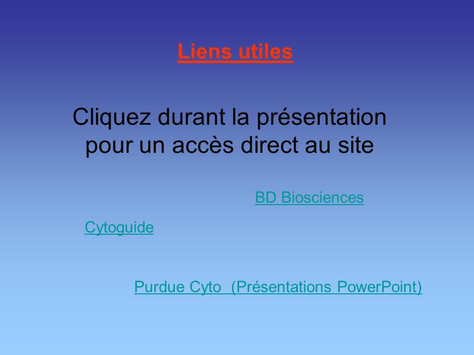 Liens utiles Cytoguide BD Biosciences Purdue Cyto (Présentations PowerPoint) Cliquez durant la présentation pour un accès direct au site