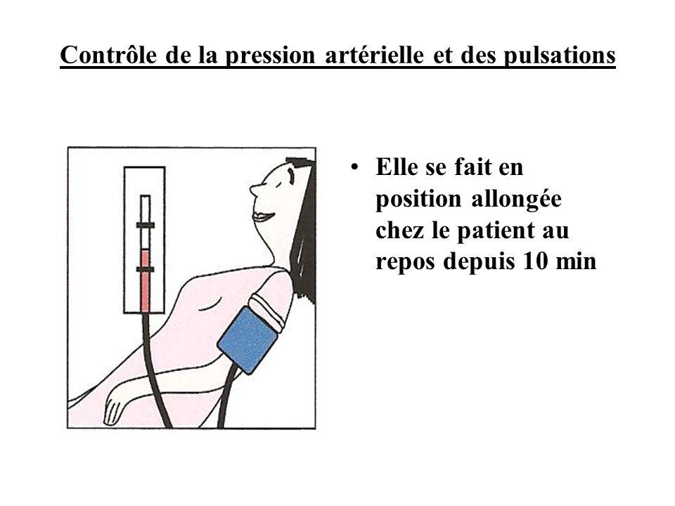 Contrôle de la pression artérielle et des pulsations •Elle se fait en position allongée chez le patient au repos depuis 10 min