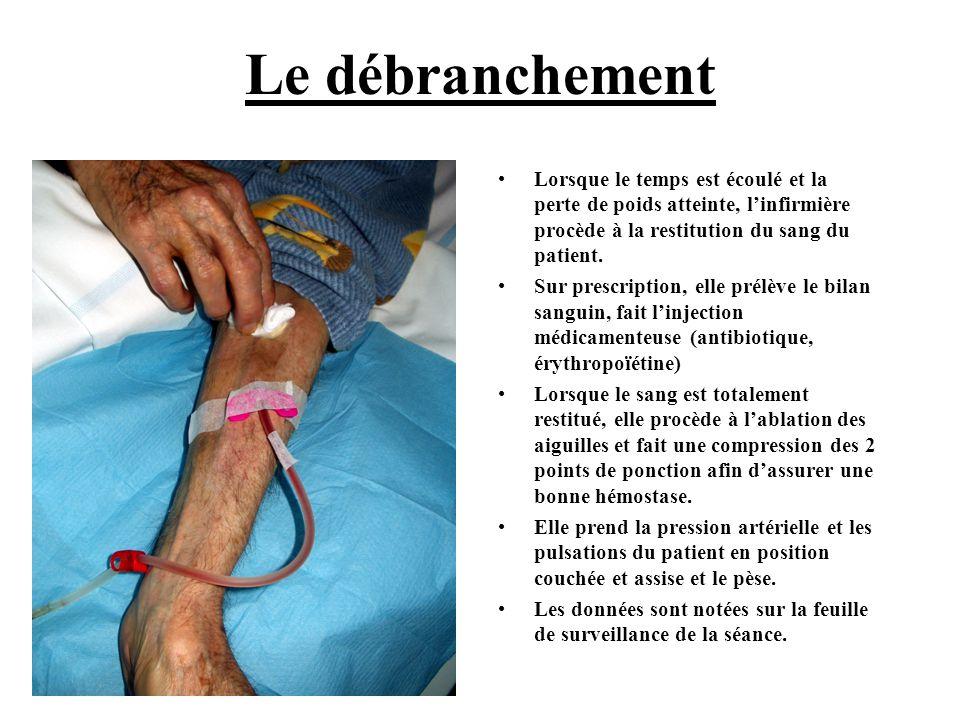 Le débranchement •Lorsque le temps est écoulé et la perte de poids atteinte, l'infirmière procède à la restitution du sang du patient. •Sur prescripti