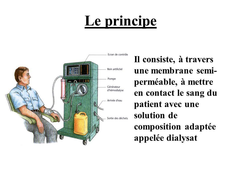 Le principe •Il consiste, à travers une membrane semi- perméable, à mettre en contact le sang du patient avec une solution de composition adaptée appe