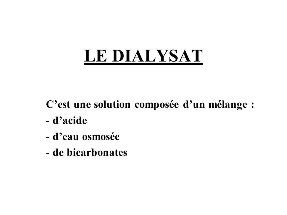 LE DIALYSAT C'est une solution composée d'un mélange : - d'acide - d'eau osmosée - de bicarbonates
