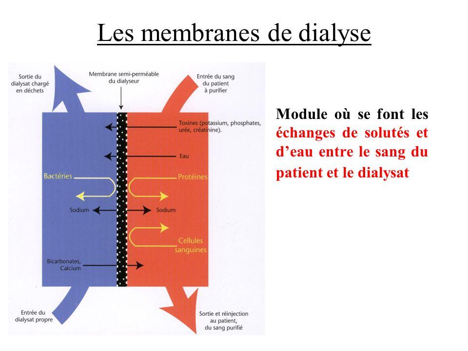 Les membranes de dialyse •Module où se font les échanges de solutés et d'eau entre le sang du patient et le dialysat