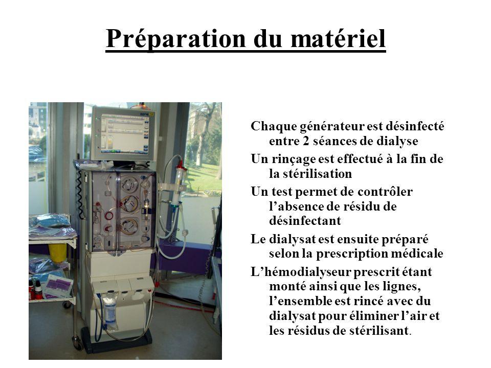 Préparation du matériel Chaque générateur est désinfecté entre 2 séances de dialyse Un rinçage est effectué à la fin de la stérilisation Un test perme