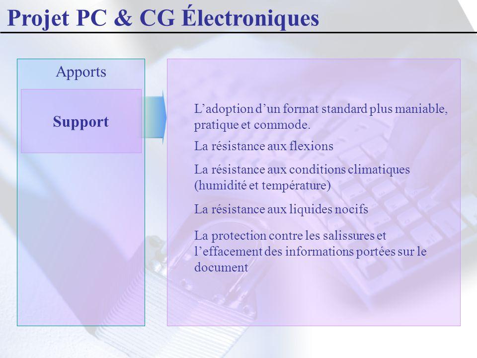Projet PC & CG Électroniques Apports Support L'adoption d'un format standard plus maniable, pratique et commode. La résistance aux flexions La résista