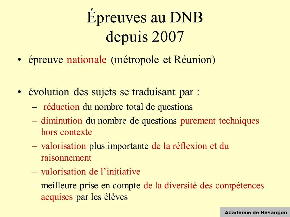 Académie de Besançon Épreuves au DNB depuis 2007 •épreuve nationale (métropole et Réunion) •évolution des sujets se traduisant par : – réduction du no