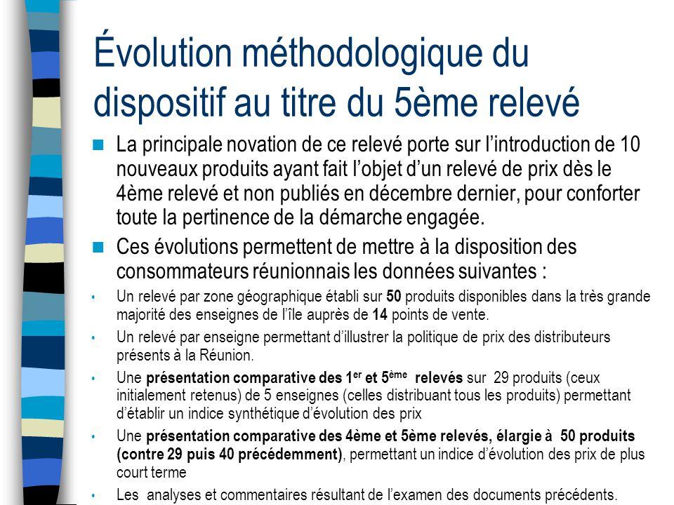 Évolution méthodologique du dispositif au titre du 5ème relevé  La principale novation de ce relevé porte sur l'introduction de 10 nouveaux produits