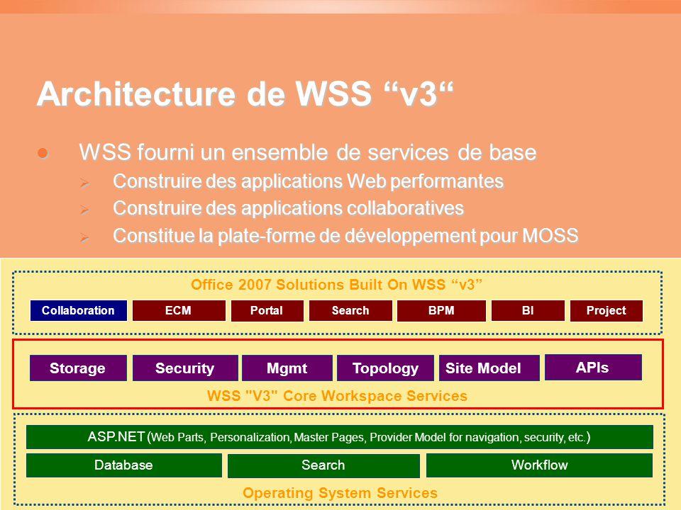 Architecture de WSS v3  WSS fourni un ensemble de services de base  Construire des applications Web performantes  Construire des applications collaboratives  Constitue la plate-forme de développement pour MOSS Operating System Services Database Search Workflow ASP.NET ( Web Parts, Personalization, Master Pages, Provider Model for navigation, security, etc.