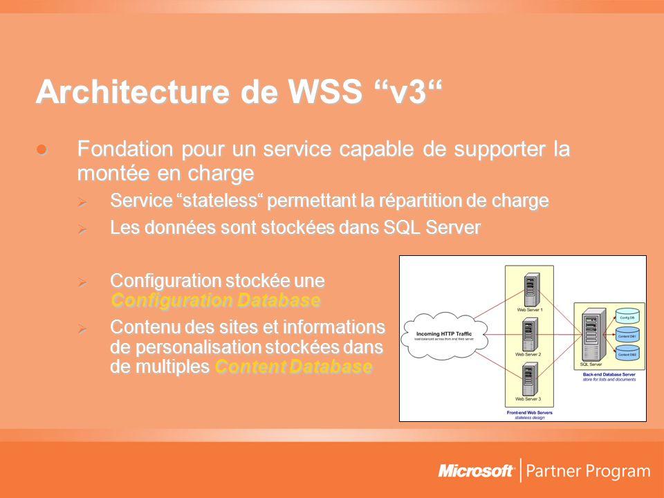 Architecture de WSS v3  Fondation pour un service capable de supporter la montée en charge  Service stateless permettant la répartition de charge  Les données sont stockées dans SQL Server  Configuration stockée une Configuration Database  Contenu des sites et informations de personalisation stockées dans de multiples Content Database