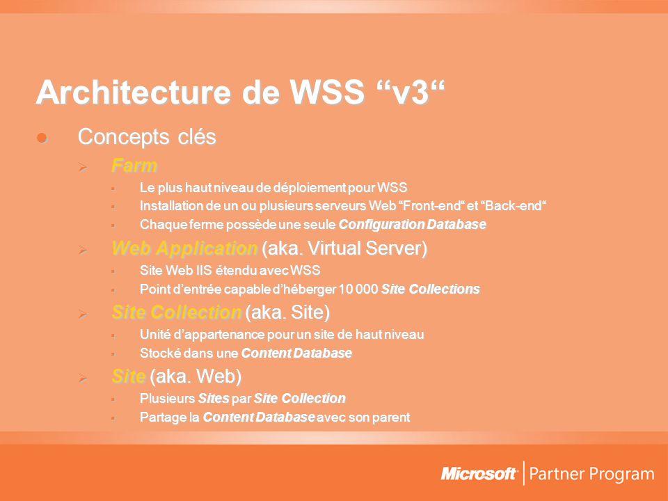 Architecture de WSS v3  Concepts clés  Farm  Le plus haut niveau de déploiement pour WSS  Installation de un ou plusieurs serveurs Web Front-end et Back-end  Chaque ferme possède une seule Configuration Database  Web Application (aka.