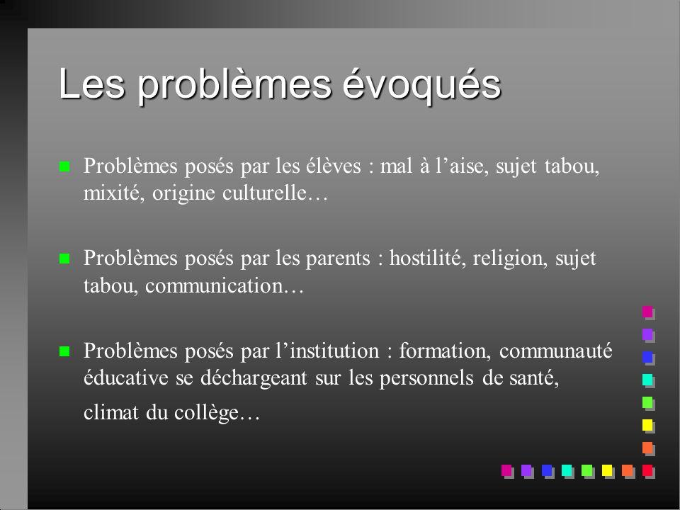 Les problèmes évoqués n n Problèmes posés par les élèves : mal à l'aise, sujet tabou, mixité, origine culturelle… n n Problèmes posés par les parents