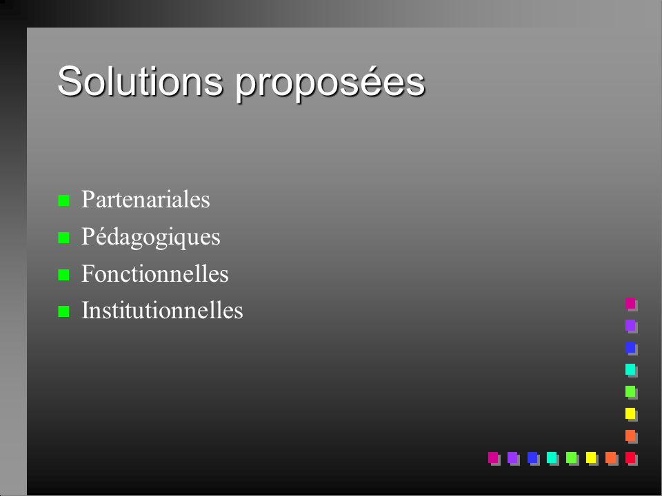 Solutions proposées n n Partenariales n n Pédagogiques n n Fonctionnelles n n Institutionnelles