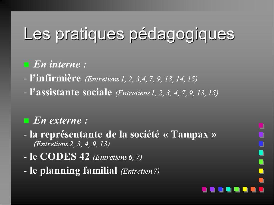 Les pratiques pédagogiques n n En interne : - l'infirmière (Entretiens 1, 2, 3,4, 7, 9, 13, 14, 15) - l'assistante sociale (Entretiens 1, 2, 3, 4, 7,