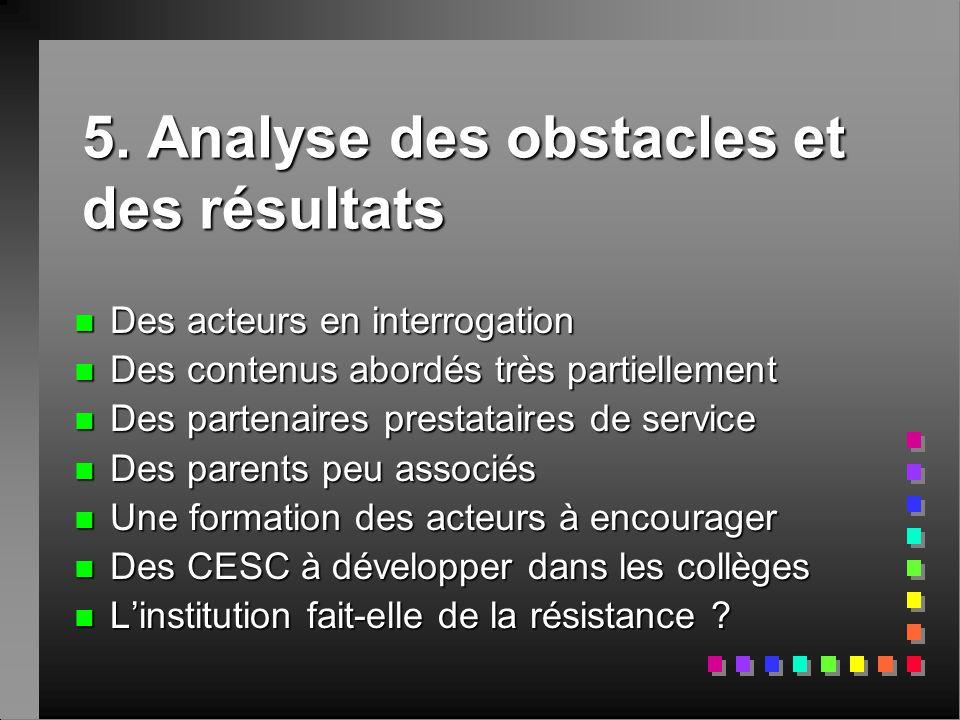 5. Analyse des obstacles et des résultats n Des acteurs en interrogation n Des contenus abordés très partiellement n Des partenaires prestataires de s