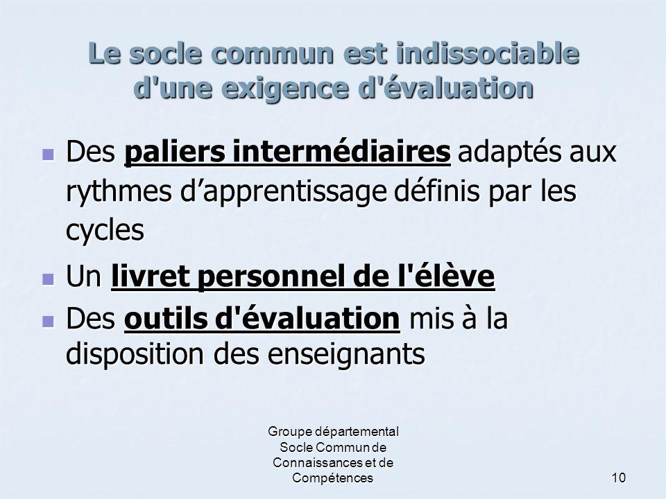 Groupe départemental Socle Commun de Connaissances et de Compétences10 Le socle commun est indissociable d'une exigence d'évaluation DDDDes palier