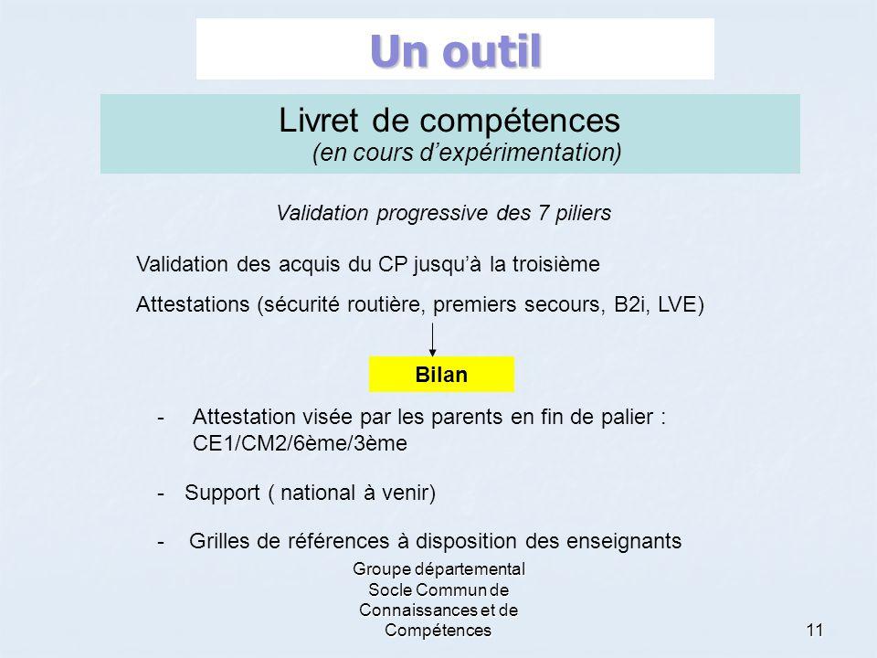 Groupe départemental Socle Commun de Connaissances et de Compétences11 Un outil -Support ( national à venir) Livret de compétences (en cours d'expérim