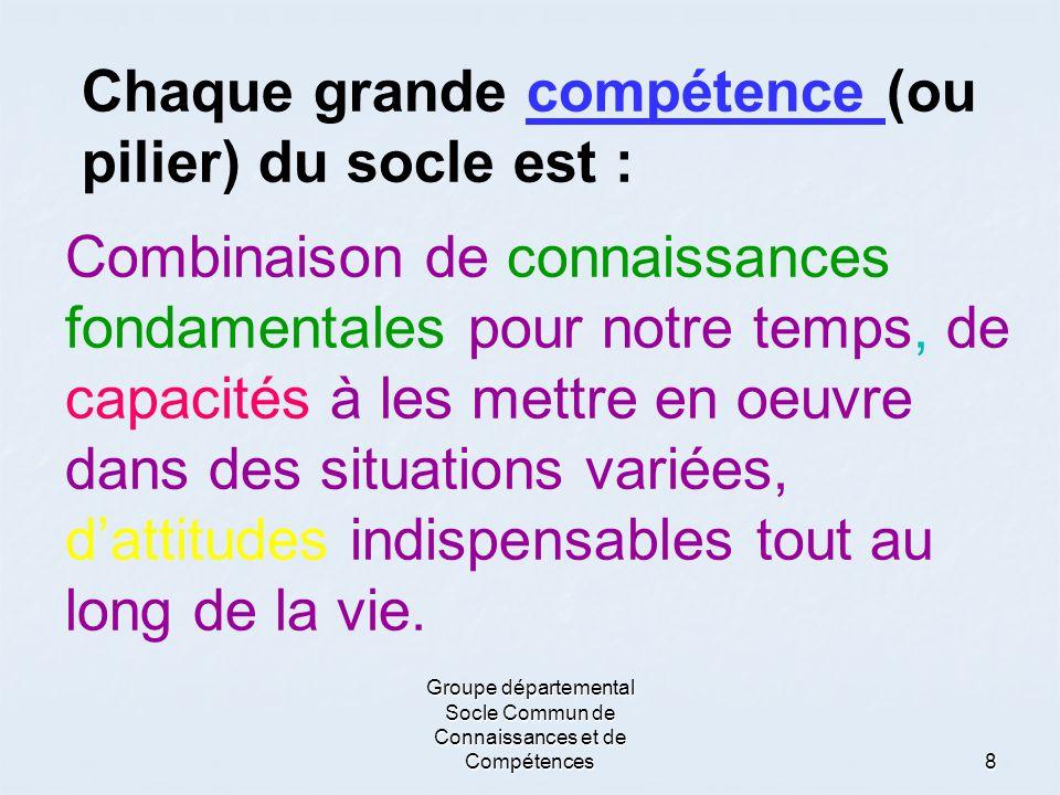 Groupe départemental Socle Commun de Connaissances et de Compétences8 Chaque grande compétence (ou pilier) du socle est : Combinaison de connaissances