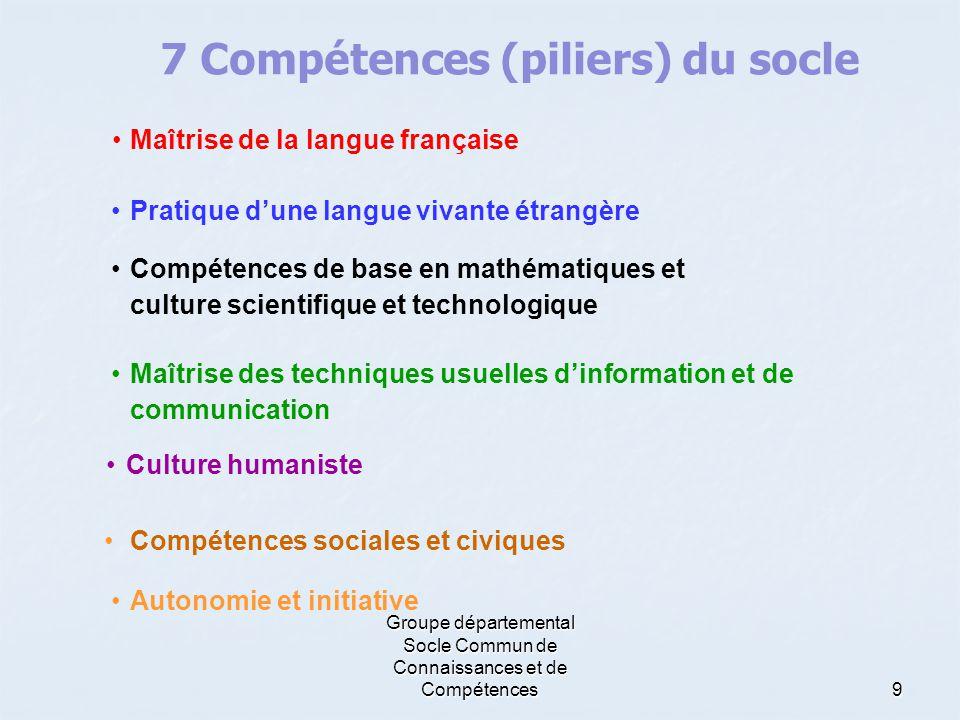 Groupe départemental Socle Commun de Connaissances et de Compétences9 •Maîtrise de la langue française 7 Compétences (piliers) du socle •Pratique d'un