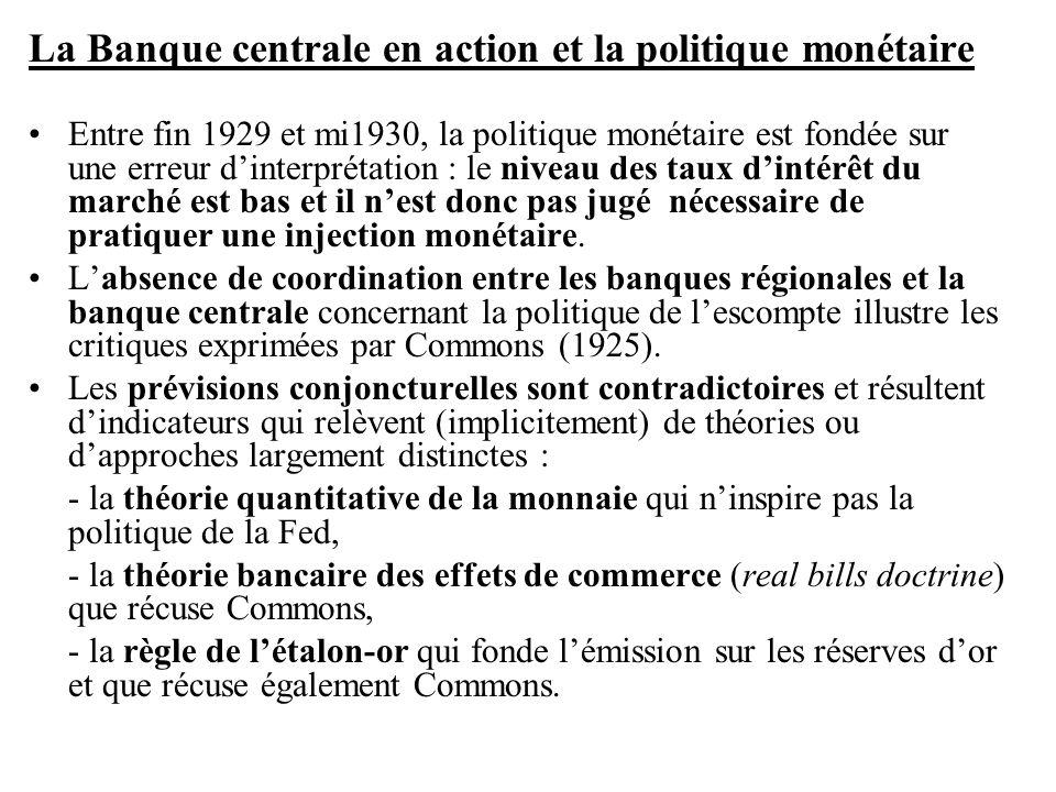La Banque centrale en action et la politique monétaire •Entre fin 1929 et mi1930, la politique monétaire est fondée sur une erreur d'interprétation :