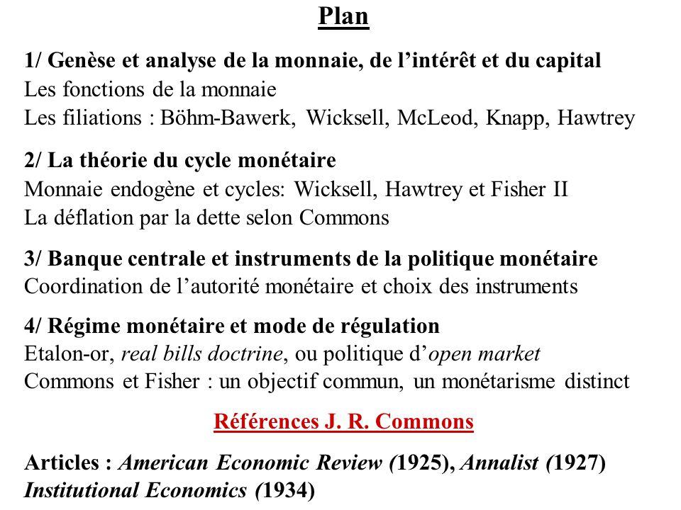 Plan 1/ Genèse et analyse de la monnaie, de l'intérêt et du capital Les fonctions de la monnaie Les filiations : Böhm-Bawerk, Wicksell, McLeod, Knapp,
