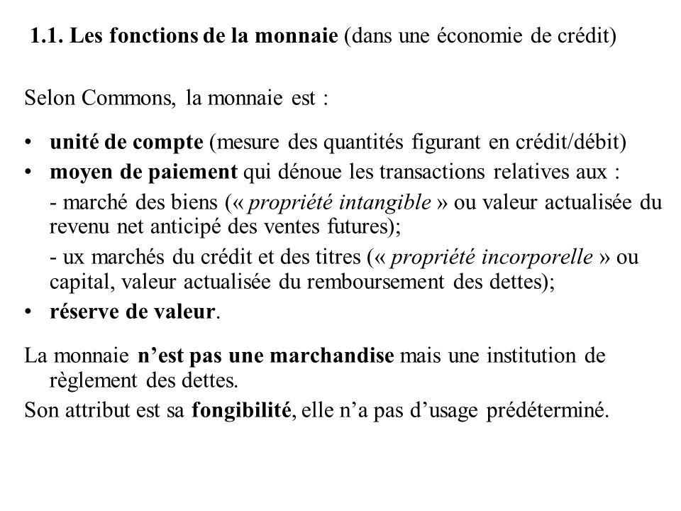 1.1. Les fonctions de la monnaie (dans une économie de crédit) Selon Commons, la monnaie est : •unité de compte (mesure des quantités figurant en créd