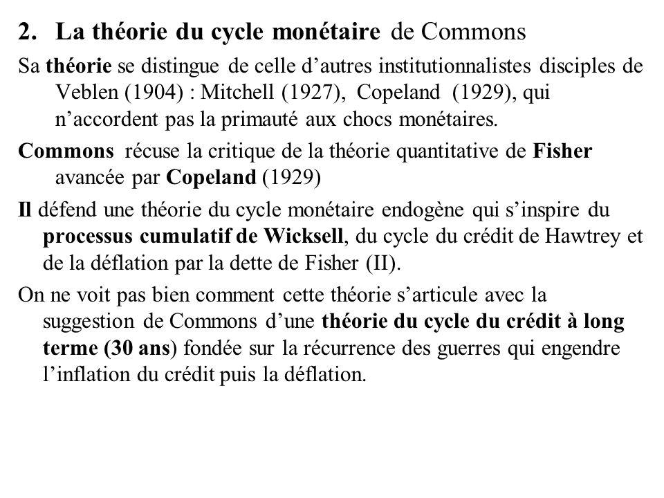 2.La théorie du cycle monétaire de Commons Sa théorie se distingue de celle d'autres institutionnalistes disciples de Veblen (1904) : Mitchell (1927),