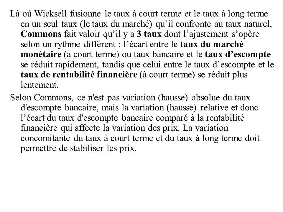 Là où Wicksell fusionne le taux à court terme et le taux à long terme en un seul taux (le taux du marché) qu'il confronte au taux naturel, Commons fai