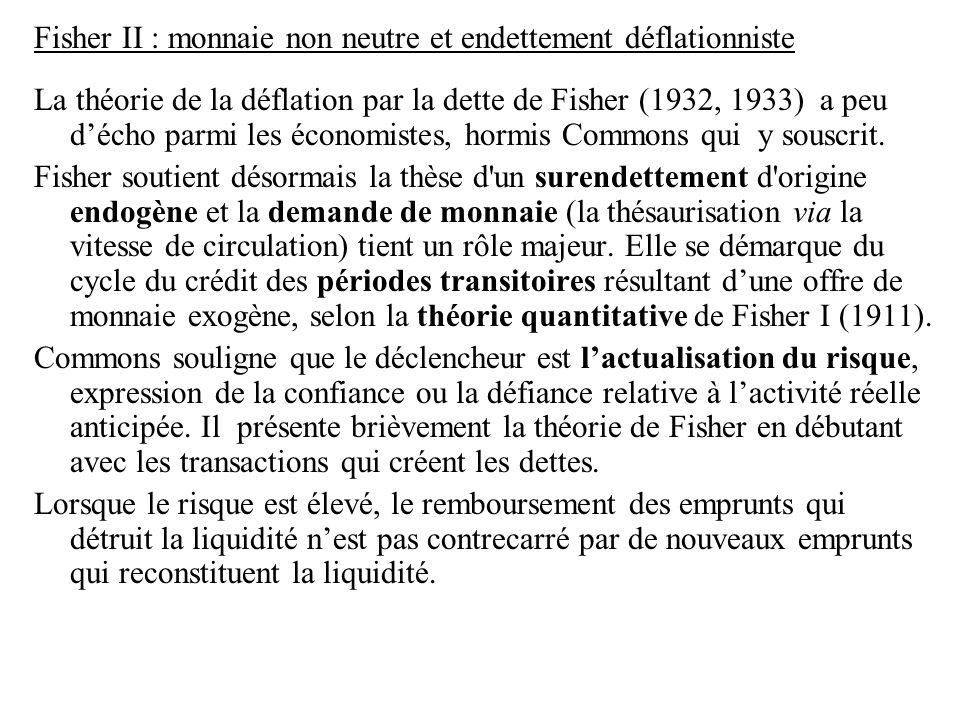 Fisher II : monnaie non neutre et endettement déflationniste La théorie de la déflation par la dette de Fisher (1932, 1933) a peu d'écho parmi les éco