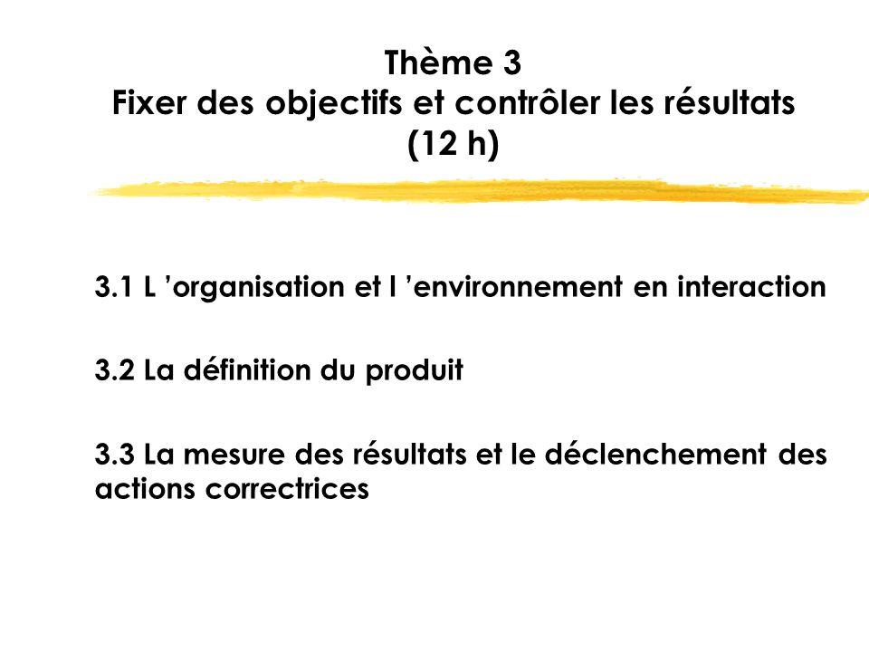 Thème 3 Fixer des objectifs et contrôler les résultats (12 h) 3.1 L 'organisation et l 'environnement en interaction 3.2 La définition du produit 3.3
