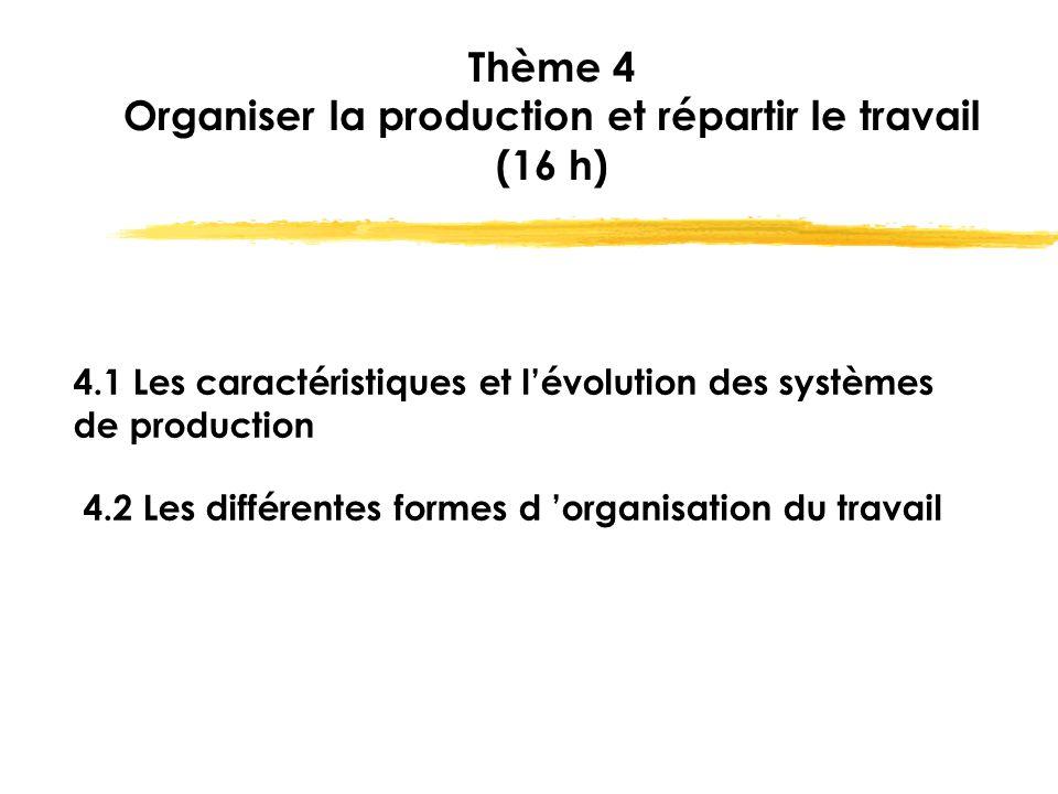 Thème 4 Organiser la production et répartir le travail (16 h) 4.1 Les caractéristiques et l'évolution des systèmes de production 4.2 Les différentes f