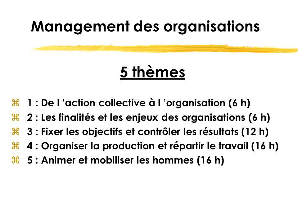 Management des organisations z 1 : De l 'action collective à l 'organisation (6 h) z 2 : Les finalités et les enjeux des organisations (6 h) z 3 : Fix