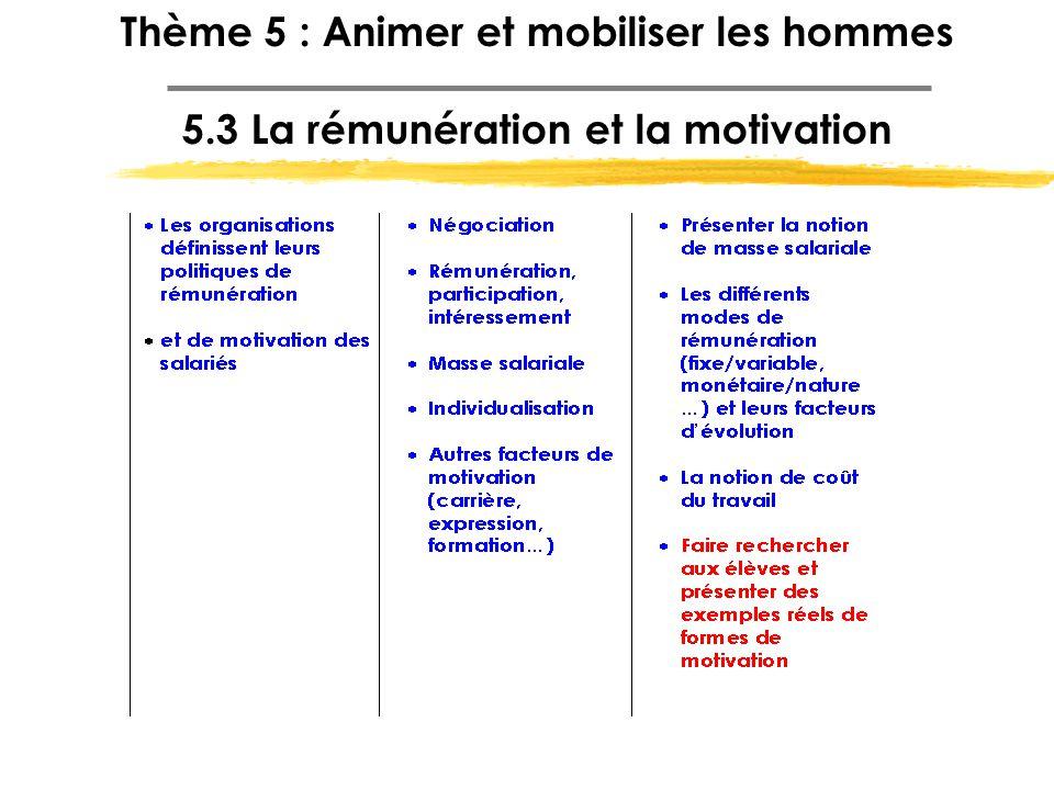 Thème 5 : Animer et mobiliser les hommes 5.3 La rémunération et la motivation