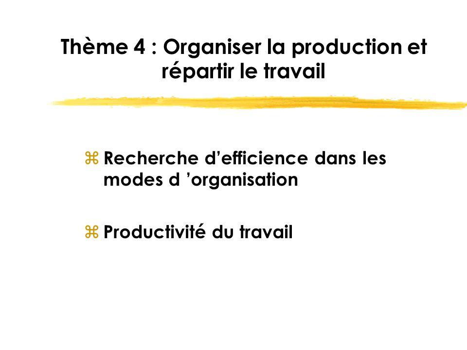 Thème 4 : Organiser la production et répartir le travail z Recherche d'efficience dans les modes d 'organisation z Productivité du travail