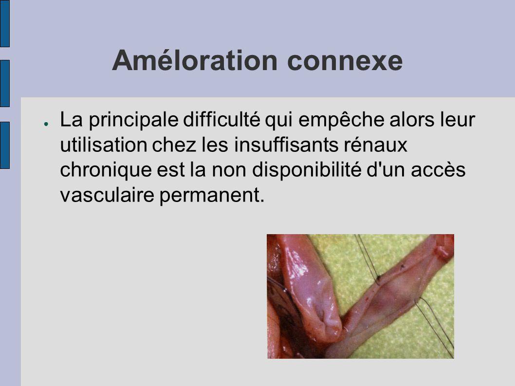 Améloration connexe ● La principale difficulté qui empêche alors leur utilisation chez les insuffisants rénaux chronique est la non disponibilité d un accès vasculaire permanent.