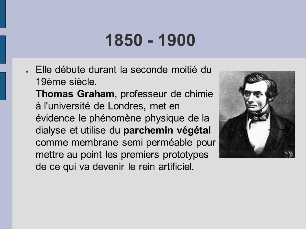 1850 - 1900 ● Elle débute durant la seconde moitié du 19ème siècle. Thomas Graham, professeur de chimie à l'université de Londres, met en évidence le
