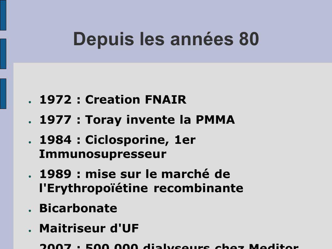 Depuis les années 80 ● 1972 : Creation FNAIR ● 1977 : Toray invente la PMMA ● 1984 : Ciclosporine, 1er Immunosupresseur ● 1989 : mise sur le marché de l Erythropoïétine recombinante ● Bicarbonate ● Maitriseur d UF ● 2007 : 500 000 dialyseurs chez Meditor